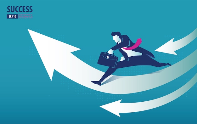 Business arrow concept with businessman on arrow jumping to success
