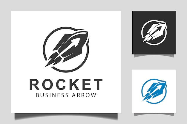 Business arrow rocket launch with upper progress icon vector design for marketing business start up logo template