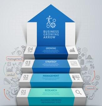 ビジネス矢印ステップ階段のインフォグラフィック。 。