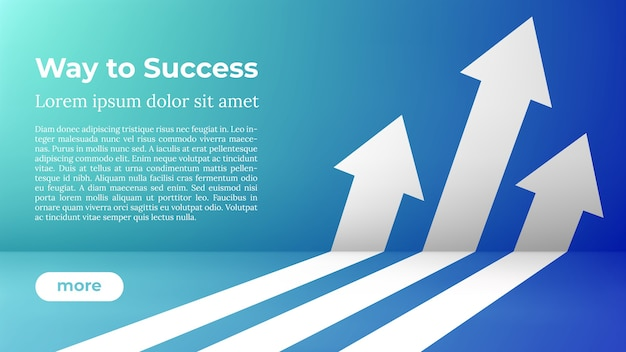 Бизнес стрелка целевое направление концепции к успеху. путь к успеху - веб-шаблон.