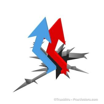 Business arrows growing