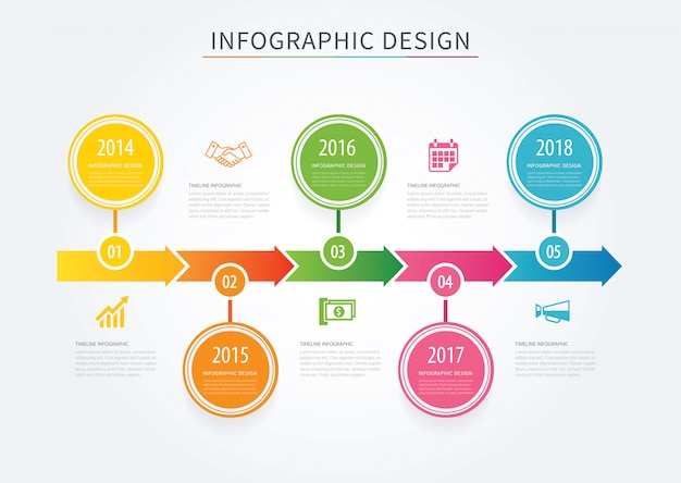 Business arrows timeline infographic background template