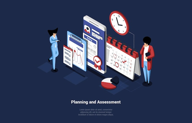 Business art of planning and assessment idea. isometric illustration in cartoon 3d style with tiny people