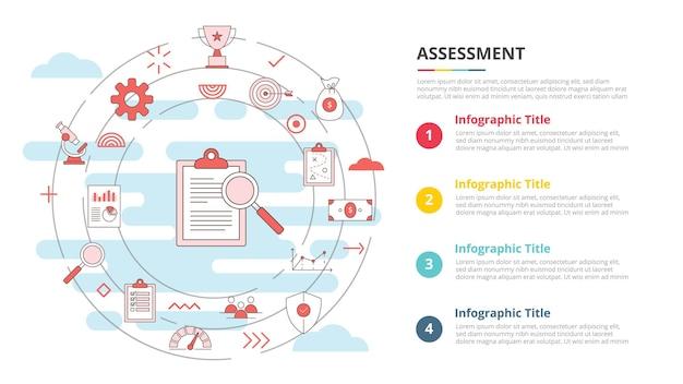 4개 포인트 목록 정보가 있는 인포그래픽 템플릿 배너에 대한 비즈니스 평가 개념
