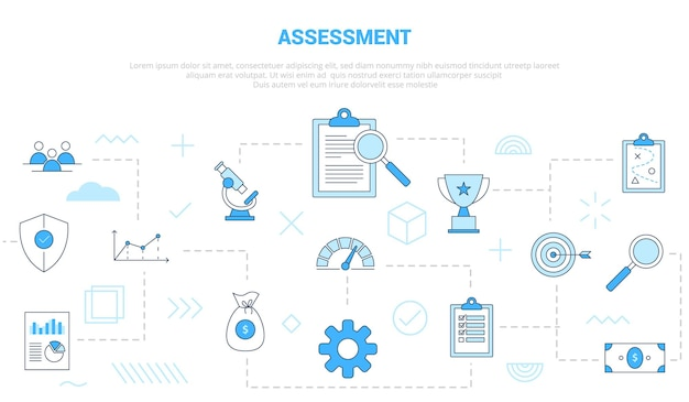 Business assessment concept with icon set template banner with modern blue color style