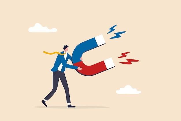 Деловая привлекательность или харизма с силой привлекать или привлекать возможности для бизнеса, концепция денег или клиентов, бизнесмен, держащий магнит высокой мощности, чтобы привлечь все преимущества.