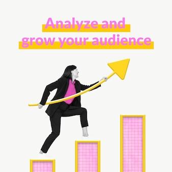 Modello di crescita del pubblico aziendale con grafico a barre e media remixati da donna