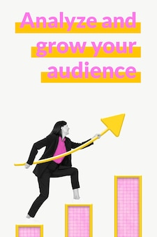 Business audience growth template with bar chart and woman remixed media