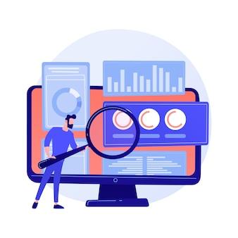비즈니스 감사. 돋보기와 금융 전문가 만화 캐릭터입니다. 통계 그래픽 정보의 검토. 통계, 다이어그램, 차트.