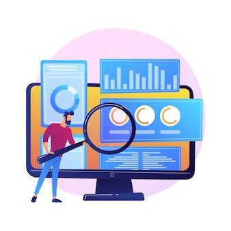 비즈니스 감사. 돋보기와 금융 전문가 만화 캐릭터입니다. 통계 그래픽 정보 검토. 통계, 다이어그램, 차트