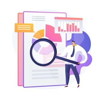 Business audit. financial specialist cartoon character with magnifier. examination of statistical graphic information. statistics, diagram, chart. vector isolated concept metaphor illustration