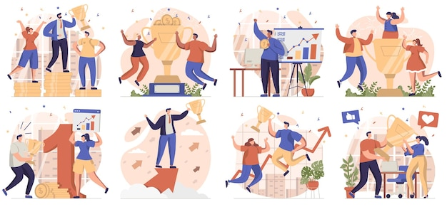 Business award collection of scenes isolated people celebrating success achieving goals and win