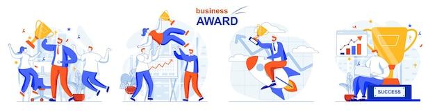 Business award concept set goal achievement success rewards project development