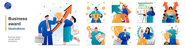 Business award isolated set businessman and businesswoman celebrate victory of scenes in flat