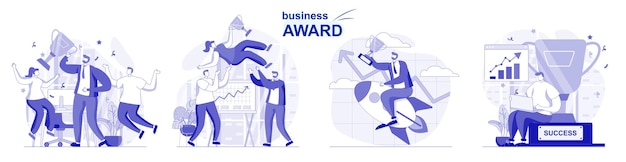 Business award isolated set in flat design people celebrate victory get cup win trophies
