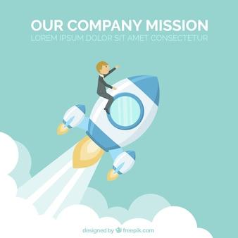 Business background of businessman on a rocket
