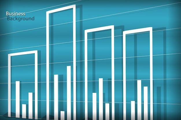 Sfondo di affari, diagramma bianco sulle onde blu