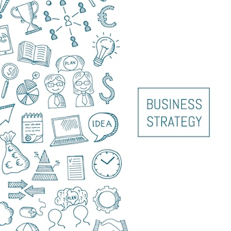 Business background with doodle icons