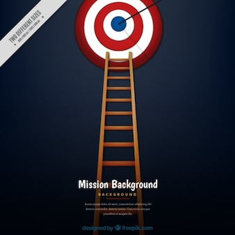 Business background with ladder and a dartboard
