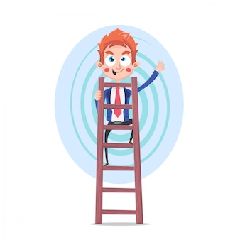 Business background with ladder