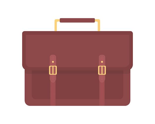 비즈니스 가방 세미 플랫 컬러 벡터 개체입니다. 가죽 사무실 서류 가방. 그래픽 디자인 및 애니메이션을 위한 중요한 문서와 일상적인 필수품을 격리하는 현대적인 만화 스타일의 삽화