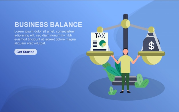 Business balance landing page template.