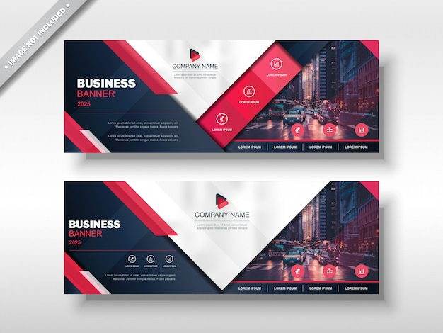 Business banner design template red blue navy white