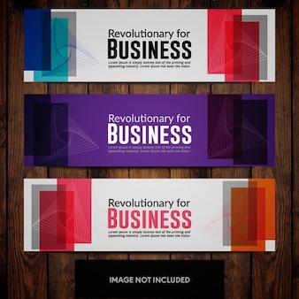 Modelli di progettazione banner aziendali con sfondi multicolori e rettangoli