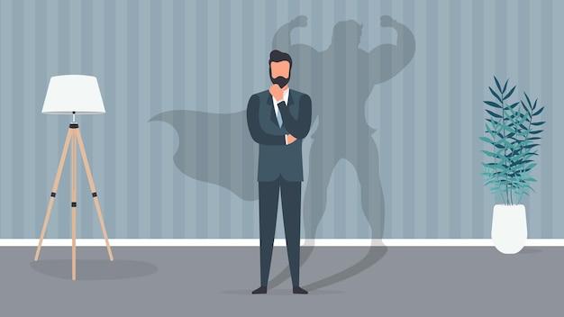 ビジネスバナー。スーパービジネスマンの概念。