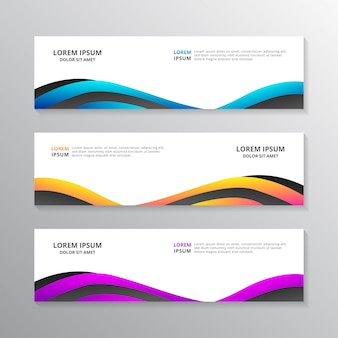 Business banner template, layout design, corporate geometric web header in gradient color