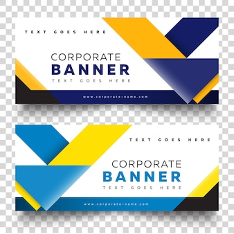 Business banner web template with yellow and blue on color