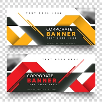Business banner web template with yellow and red on color