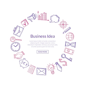 Business banner with icons in circle