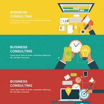 Business banners collection Free Vector