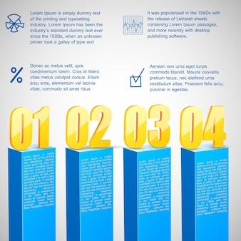 Modello di diagramma a barre aziendale con numeri e statistiche