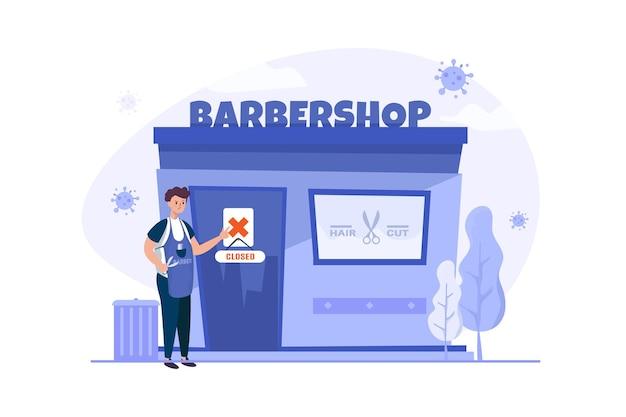 パンデミックのイラスト中、ビジネス理髪店は休業