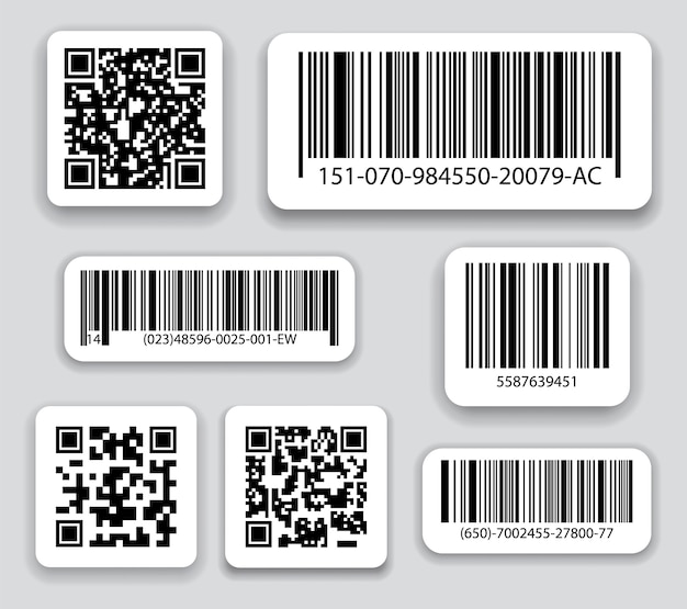 Business barcodes and qr codes vector set.