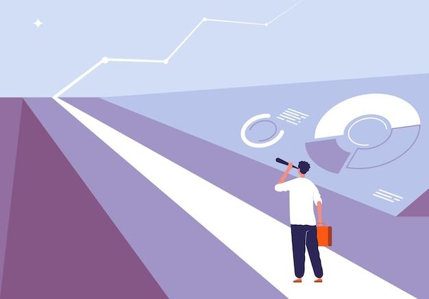 Бизнес начать концепцию. человек, стоящий на дороге и просматривающий на горизонте возможность большой проблемы и прибыли