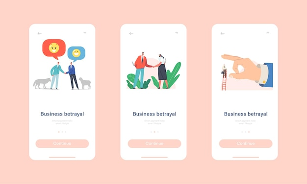 Business betrayal mobile app page onboard screen template. characters with knives shaking hands, sheep and wolf friendship, finger throw off man from ladder concept. cartoon people vector illustration