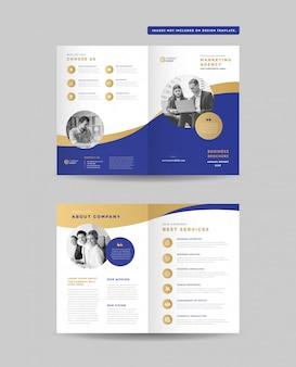 비즈니스 이중 브로셔 디자인   소책자 디자인   마케팅 및 재무 문서