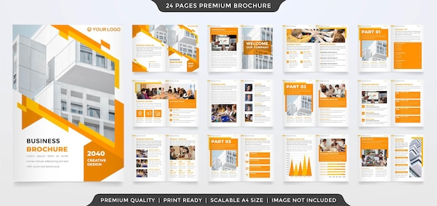 Business bifold brochure editable layout template premium vector