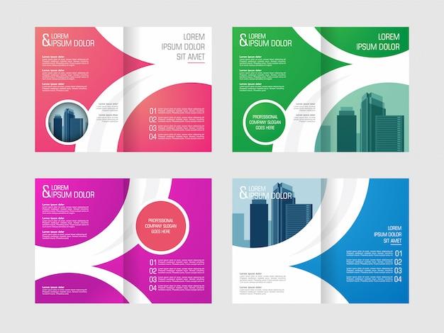 ビジネス二つ折りパンフレット、チラシ、ポスター、年次報告書、写真用スペース付きカバーデザイン