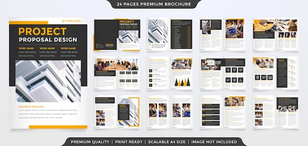 Business bifold brochure template design with minimalist layout and modern concept