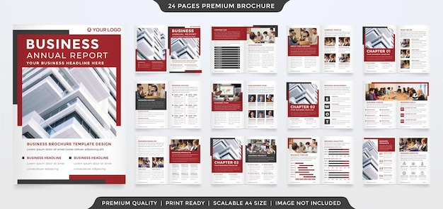 Business bifold brochure template design with minimalist style and clean concept