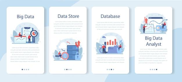 ビジネスビッグデータ分析モバイルアプリケーションバナーセット