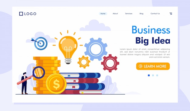 Business big idea landing page website vector template