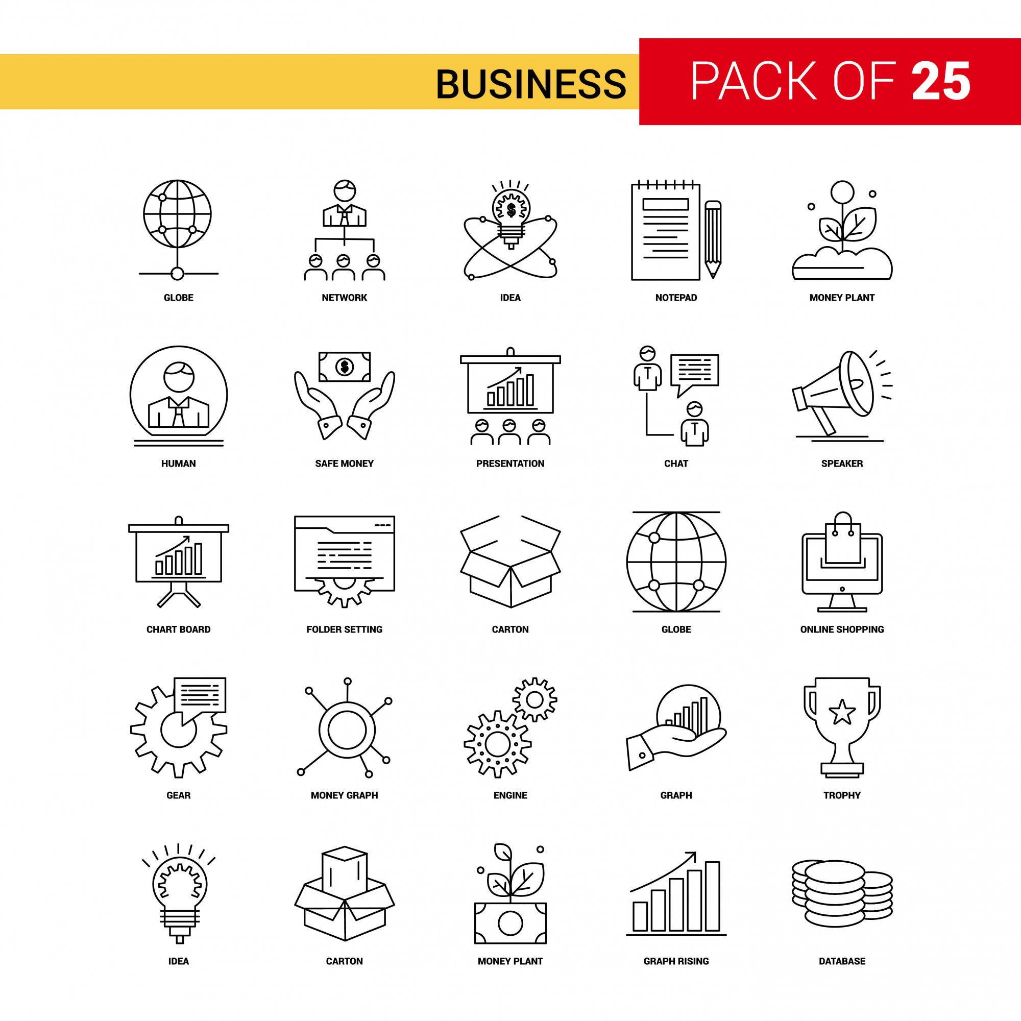 Business Black Line Icon - 25 Business Outline Icon Set