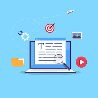 비즈니스 블로그 개념. 상업 블로그 게시, 인터넷 블로깅 서비스 평면 디자인 일러스트.