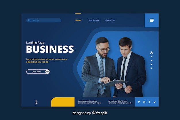 Business blue landing page with businessmen