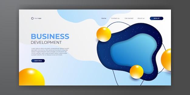 추상적인 현대적인 3d 배경이 있는 비즈니스 파란색 노란색 방문 페이지. 방문 페이지 디자인을 위한 트렌디한 추상 액체 배경. 웹사이트 디자인을 위한 최소한의 배경.